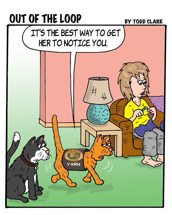 Knitting Humor Cartoon : A little knitting and cat humor dances with wools